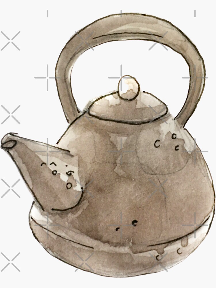 Witchy Grey Kettle Illustration in Watercolor   by WitchofWhimsy