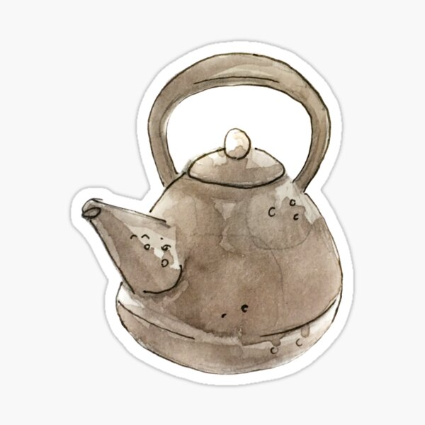 Witchy Grey Kettle Illustration in Watercolor   Sticker