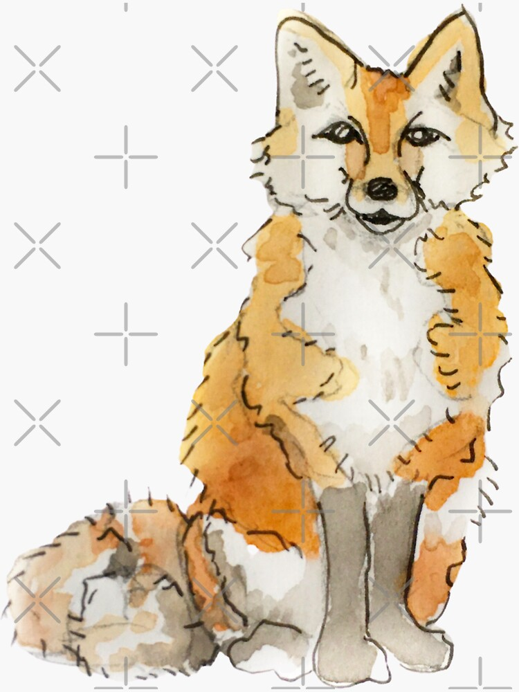 Fluffy Fox Familiar Illustration in Watercolor  by WitchofWhimsy