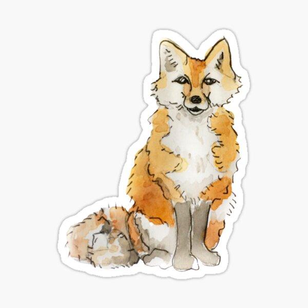 Fluffy Fox Familiar Illustration in Watercolor  Sticker