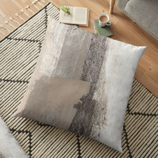 Taupe and Charcoal Grey Modern Abstract Painting Floor Pillow