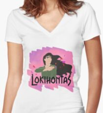 Lokihontas Women's Fitted V-Neck T-Shirt