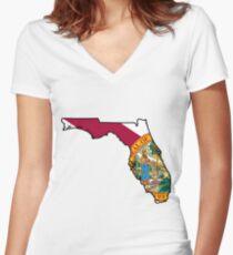 Florida Flag [Blk] | State Line | SteezeFSC Women's Fitted V-Neck T-Shirt