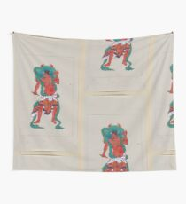 Mythological Buddhist or Hindu figure full length standing facing front with long green sash and flaming green halo behind his head 001 Wall Tapestry
