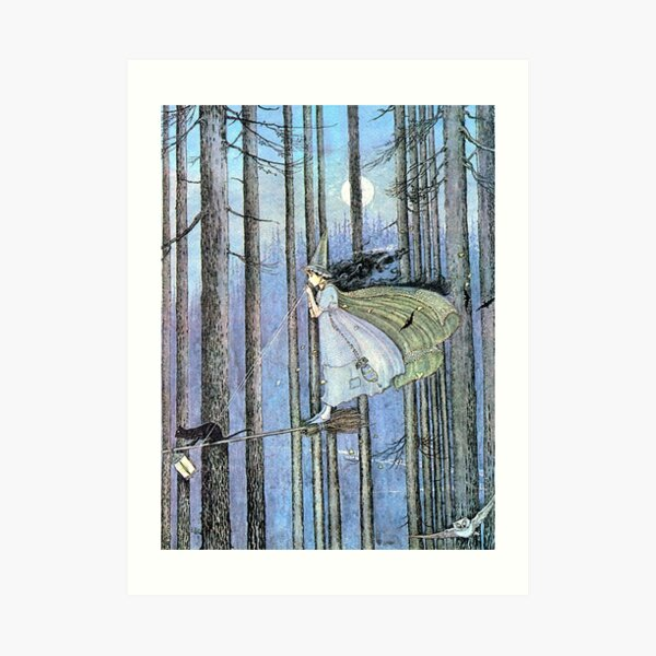 Witch and Cat on Broom - Ida Rentoul Outhwaite Art Print