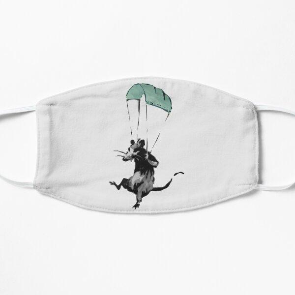 rat parachuting with facemark Flat Mask