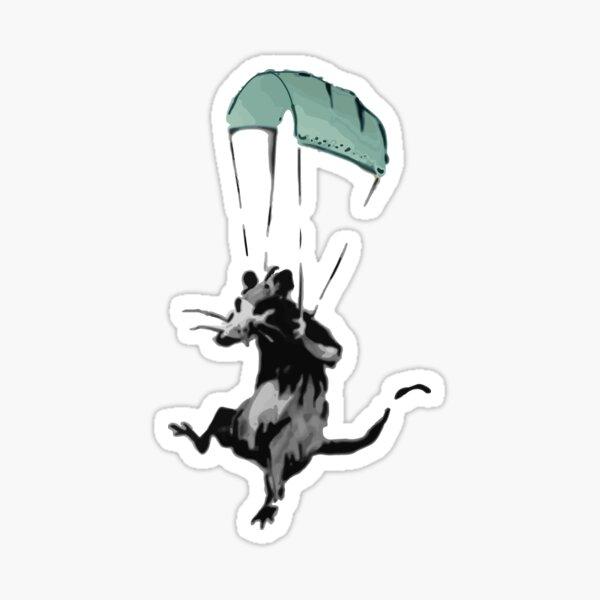 rat parachuting with facemark Sticker