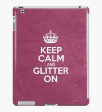 Keep Calm and Glitter On - Pink Leather iPad Case/Skin