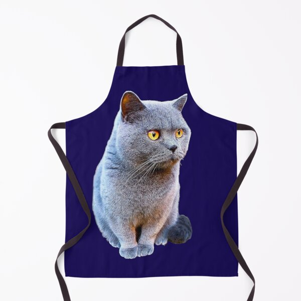 British Shorthair Cat Blue  Apron