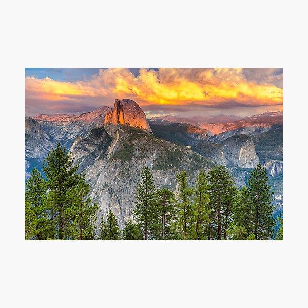Sunset over Half Dome - Yosemite National Park Photographic Print