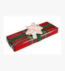 Wrapped Gift With Tartan Paper Photographic Print