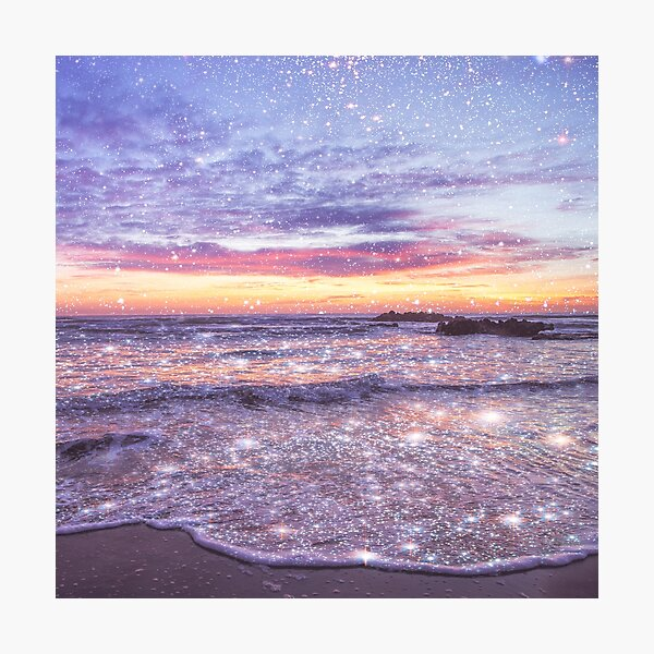 Ocean Vintage Sparkly Aesthetic Photographic Print