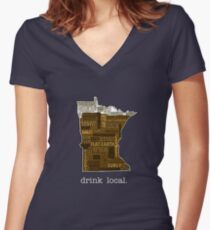 Drink Local (MN) Women's Fitted V-Neck T-Shirt