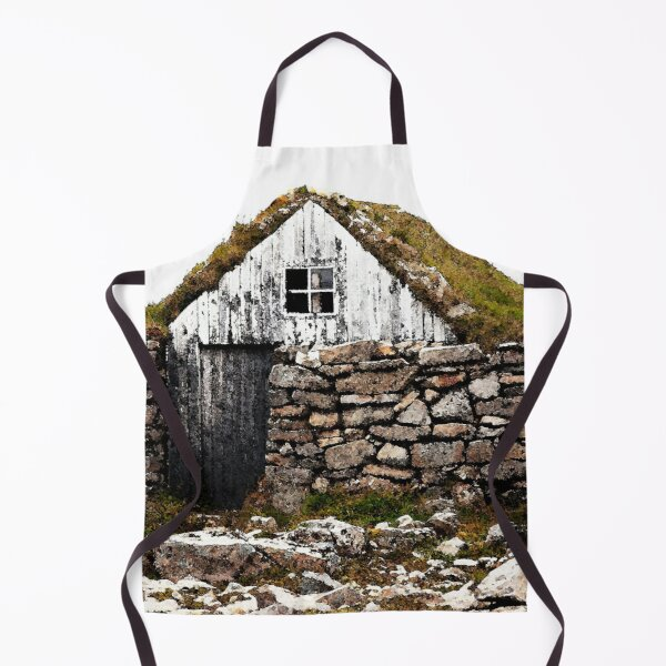 Watercolor Architecture, Icelandic Turf House 02 Apron