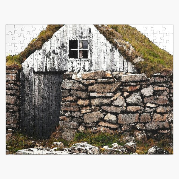 Watercolor Architecture, Icelandic Turf House 02 Jigsaw Puzzle