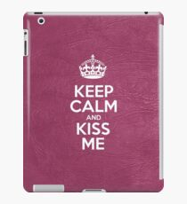 Keep Calm and Kiss Me - Pink Leather iPad Case/Skin