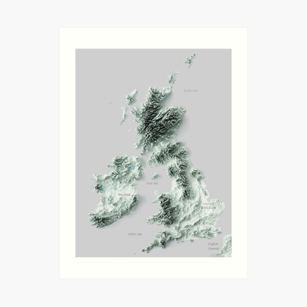 3D Ireland and the United Kingdom map digitally-rendered  Art Print