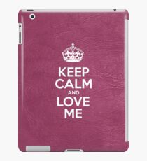 Keep Calm and Love Me - Pink Leather iPad Case/Skin