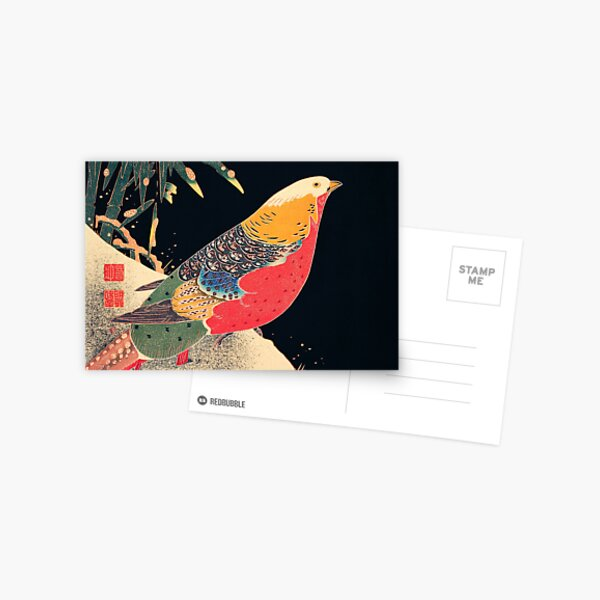Golden Pheasant in the Snow by (1900) illustration by Ito Jakuchu Postcard