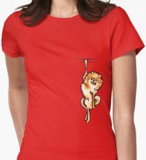 Clingy Orange Pomeranian Women's Fitted T-Shirt