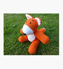 Hand knitted little fox Photographic Print