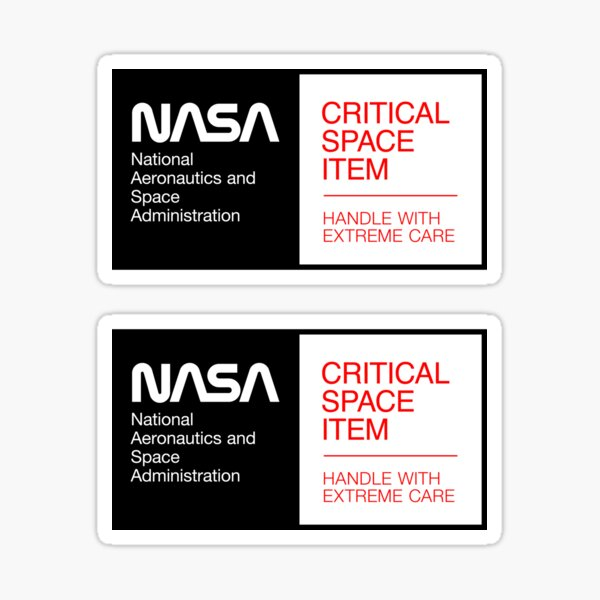 NASA - Critical Space Item (Black, 2 in 1) Sticker