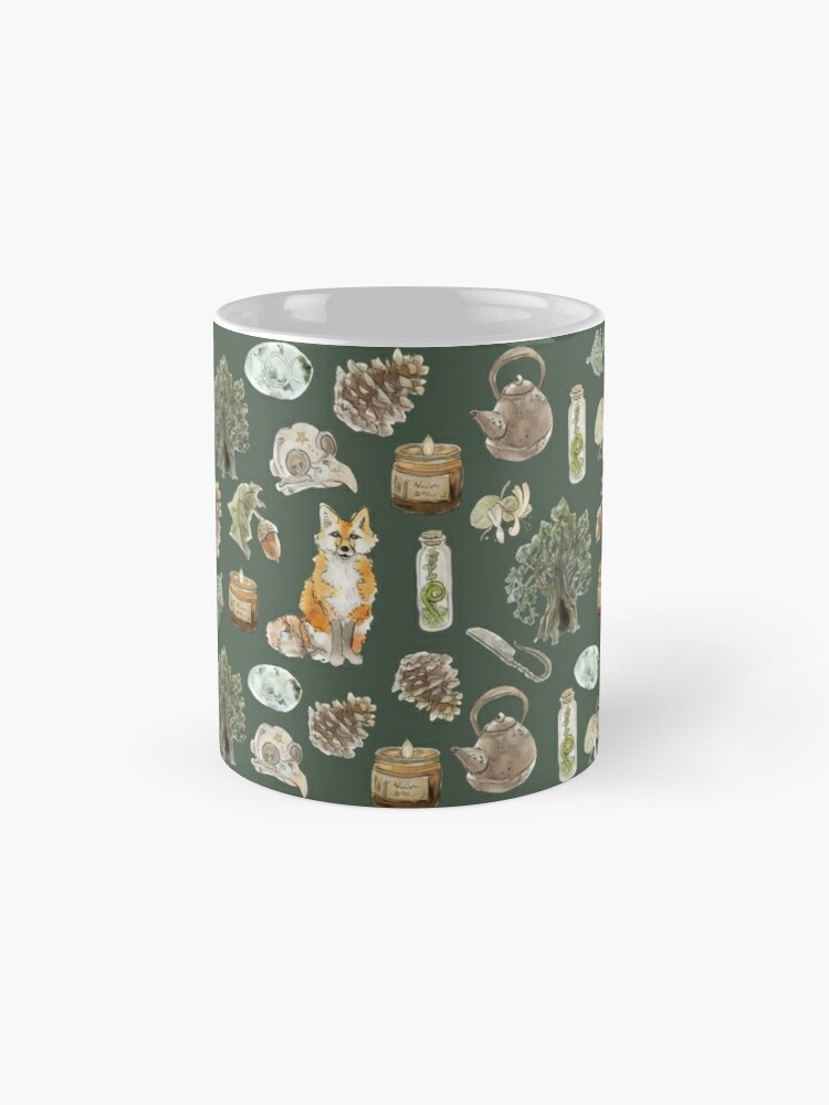Alternate view of Forest Witch Aesthetic Pattern - Wrap Around with Green Background Mug