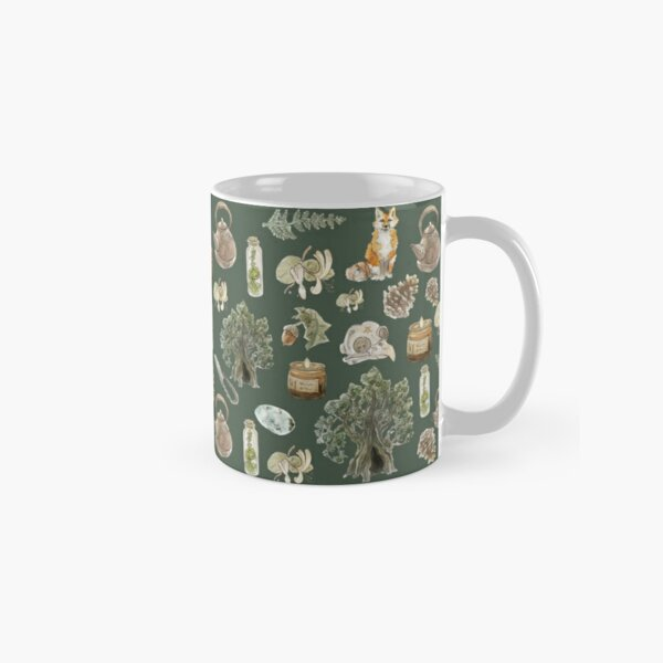 Forest Witch Aesthetic Pattern - Wrap Around with Green Background Classic Mug