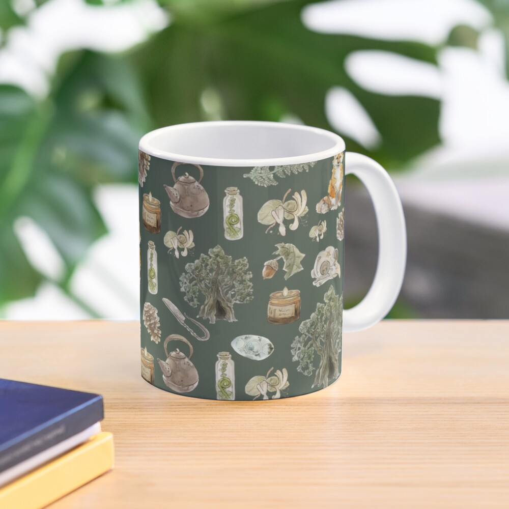 Forest Witch Aesthetic Pattern - Wrap Around with Green Background Mug