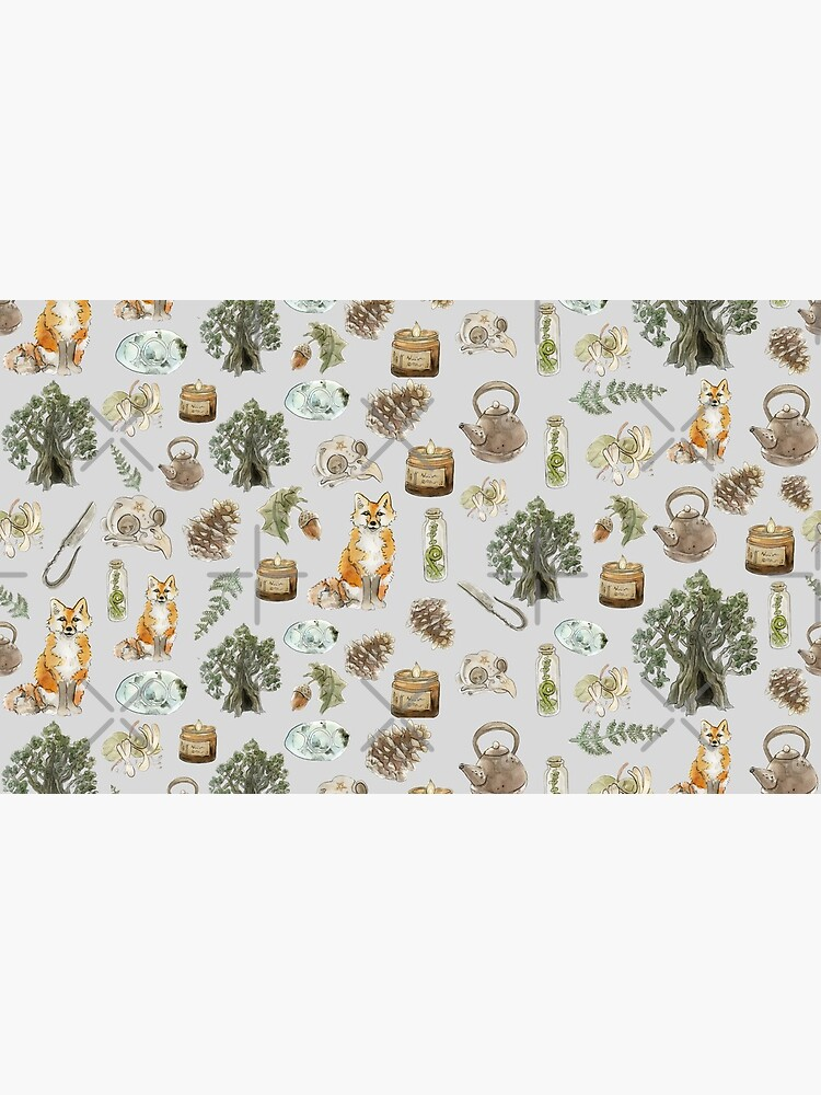 Forest Witch Aesthetic Pattern - Wrap Around with Grey Background by WitchofWhimsy