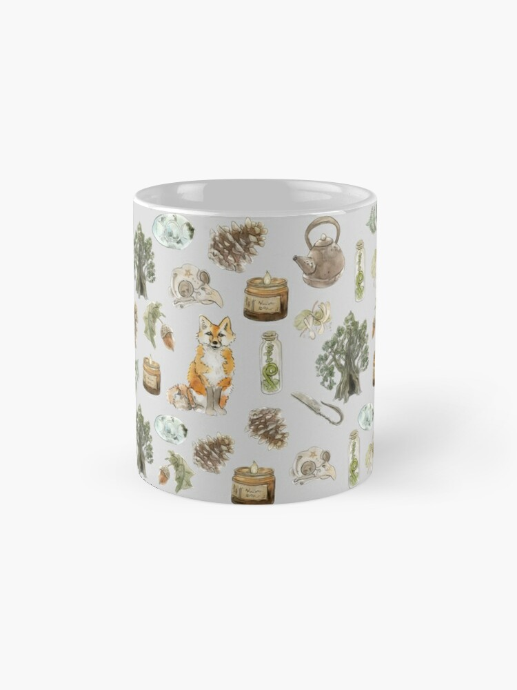 Alternate view of Forest Witch Aesthetic Pattern - Wrap Around with Grey Background Mug
