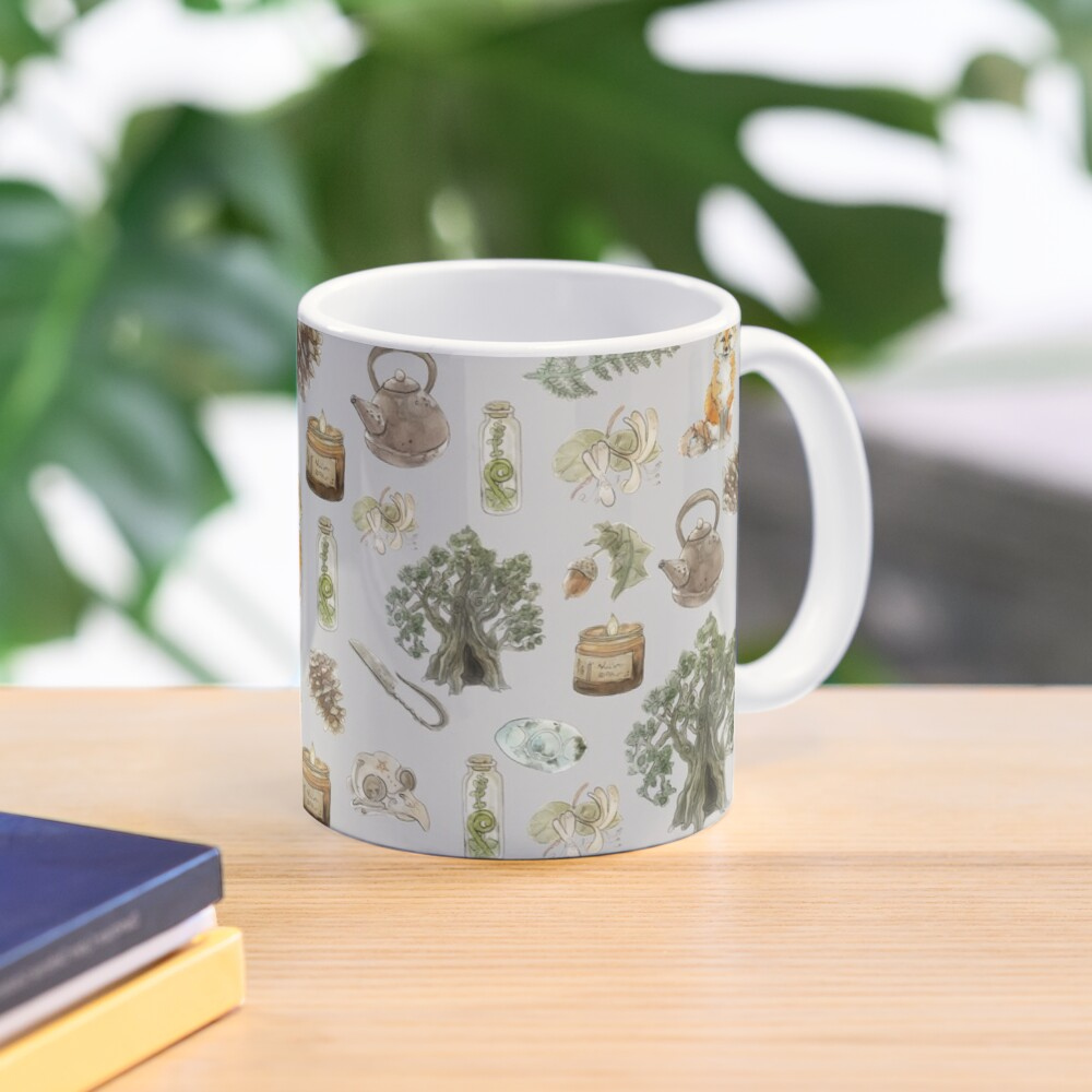 Forest Witch Aesthetic Pattern - Wrap Around with Grey Background Mug