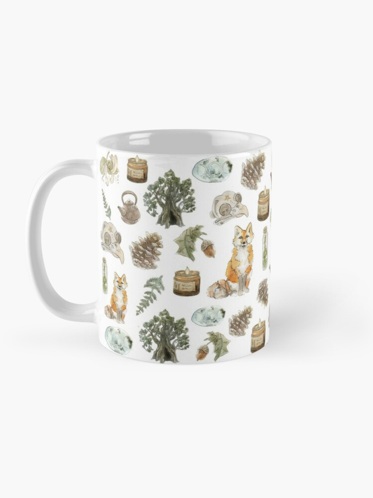 Alternate view of Forest Witch Aesthetic Pattern - Wrap Around with White Background Mug