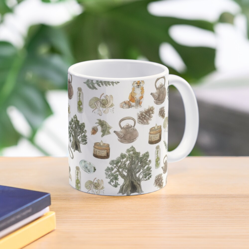 Forest Witch Aesthetic Pattern - Wrap Around with White Background Mug