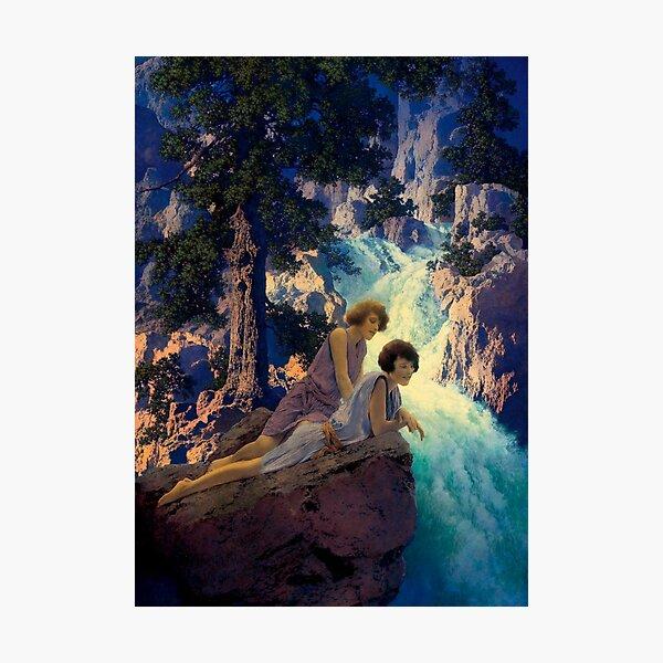 Waterfall -  Maxfield Parrish midcentury art deco/nouveau illustration Photographic Print