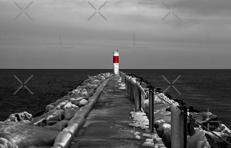 """Irondequoit Bay Lighthouse Pier In Black & White With"