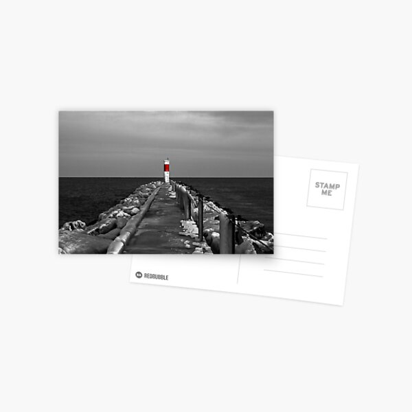 Irondequoit Bay Lighthouse Pier in Black & White with Splash of Red Postcard