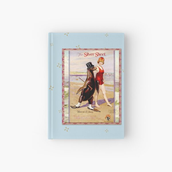 Silver Sheet Galloping Fish Antique Magazine Bathing Beauty With Top Hat Wearing Sea Lion  Hardcover Journal