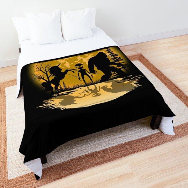 Big Foot, Alien And Unicorn Under The Moon Comforter