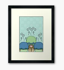 Cute Monster With Blue And Cyan Frosted Cupcakes Framed Print