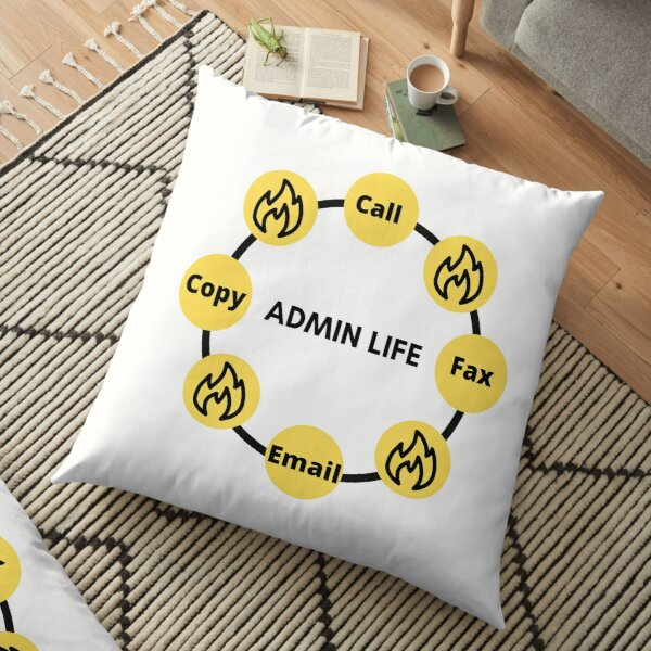 Administrator Office Fire Fighter Yellow Funny Appreciation - Unisex Floor Pillow