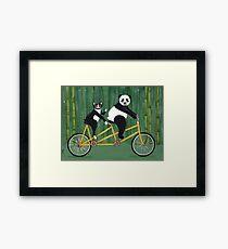 Panda and Cat Bicycle Tandem Framed Print