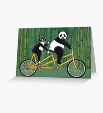 Panda and Cat Bicycle Tandem Greeting Card