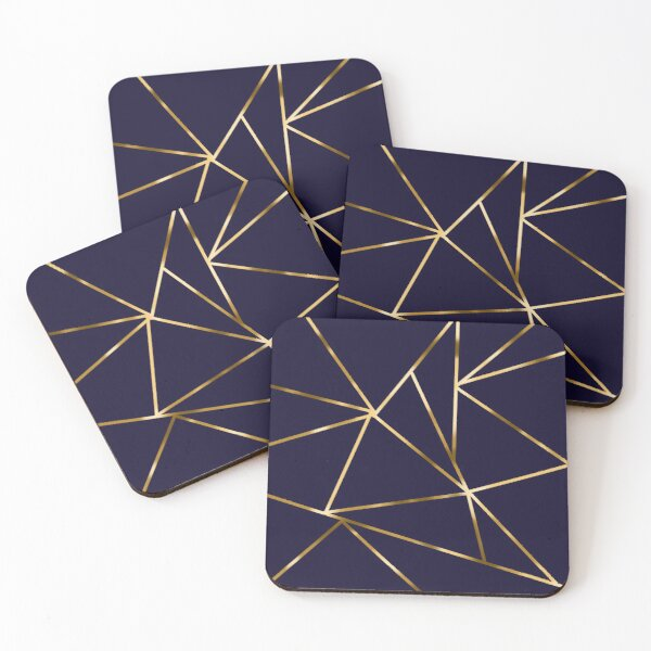 Geometric Gold Midnight  Coasters (Set of 4)