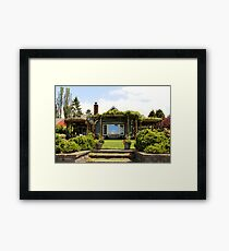 University Place Garden Tour - Home #1 Backyard View Up the Hill to the House Framed Print