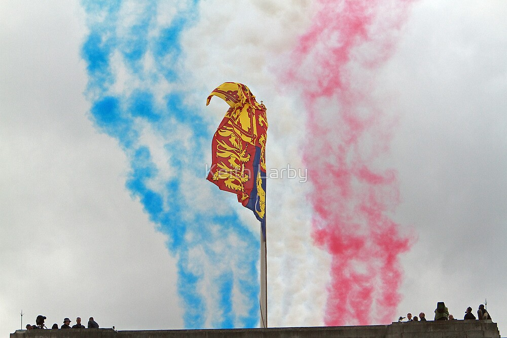 Red Arrows At Trooping The Colour by Keith Larby