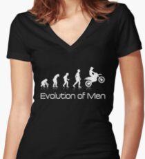 Evolution of Men - White Print Women's Fitted V-Neck T-Shirt