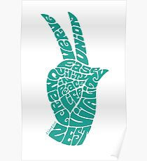 Life Force Hand in Turquoise Poster