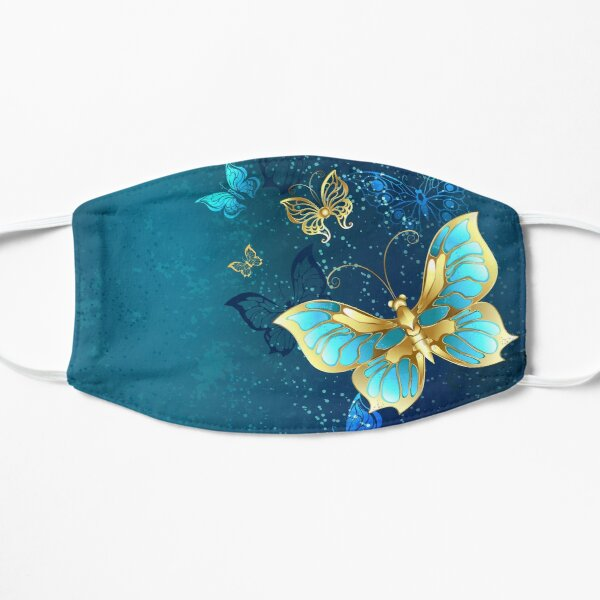 Golden Butterflies on a Blue Background Mask