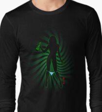 Bong Rip Girl Green -1 (outline) Long Sleeve T-Shirt